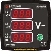 DV-0303 Вольтметр ,3 фазы, 72x72mm